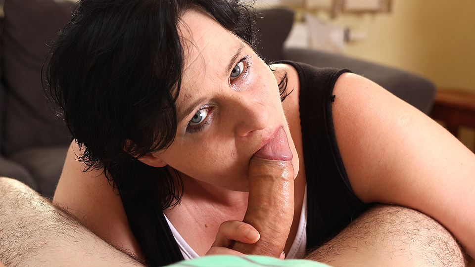 Sucking on the cock and the dude adores her blowjob skills