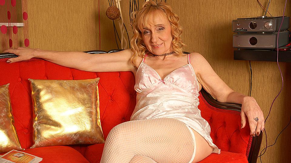 Naughty blonde housewife masturbating