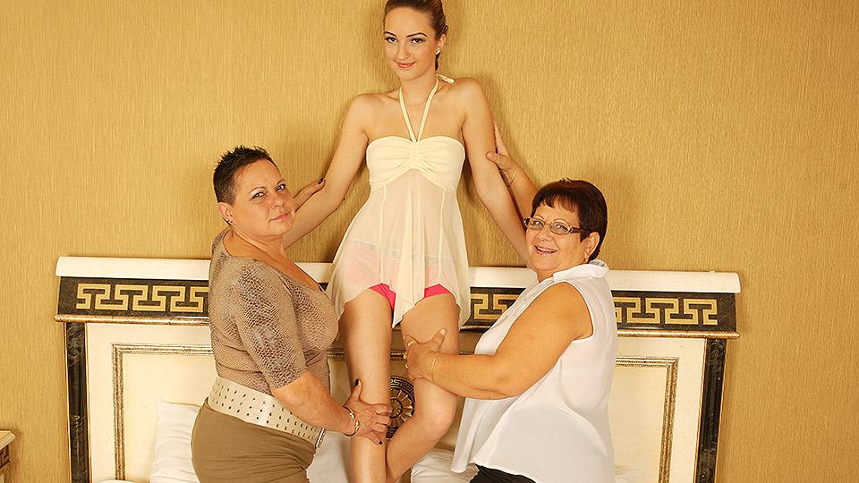 granny Moeder en dochter doen een neger