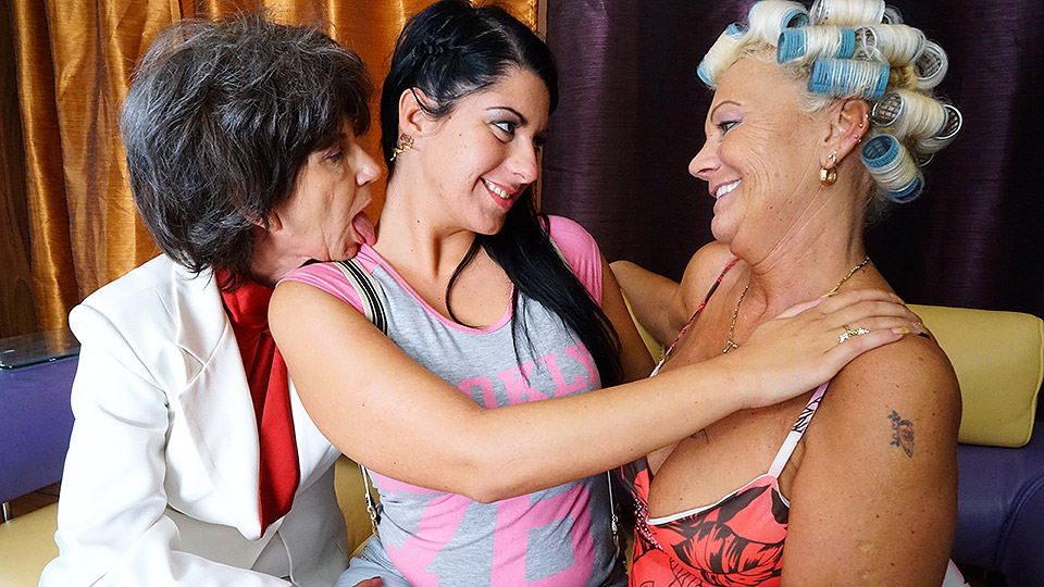 Three old and young lesbians eating pussy and getting wet