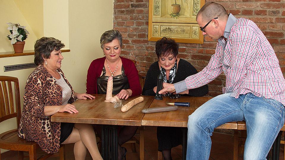 Three horny old ladies enjoy their toyboy