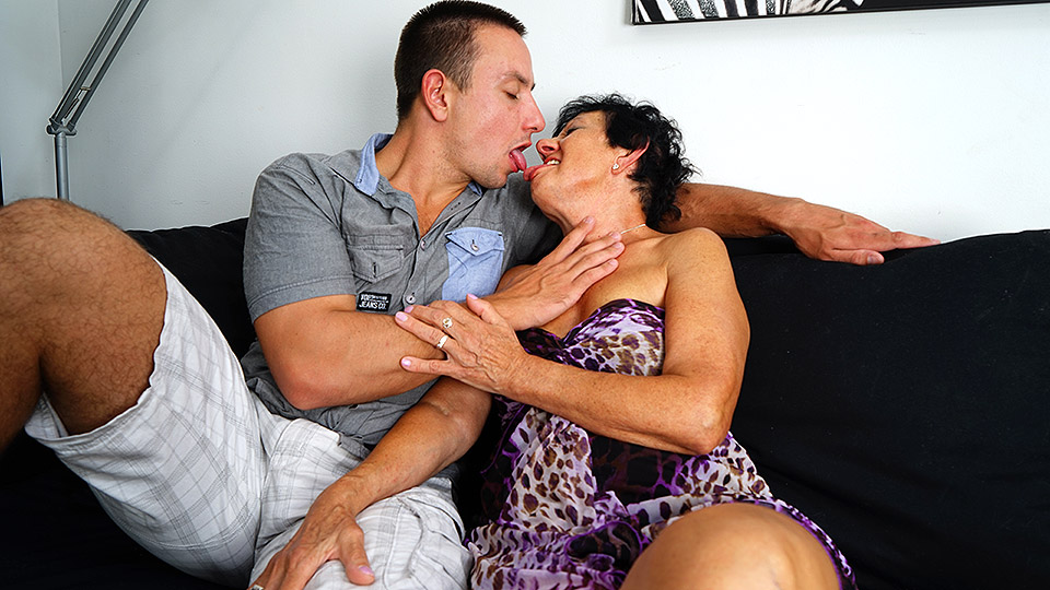 Horny granny having fun with her toy boy