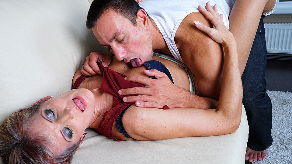 Horny mature slut fucking her younger lover