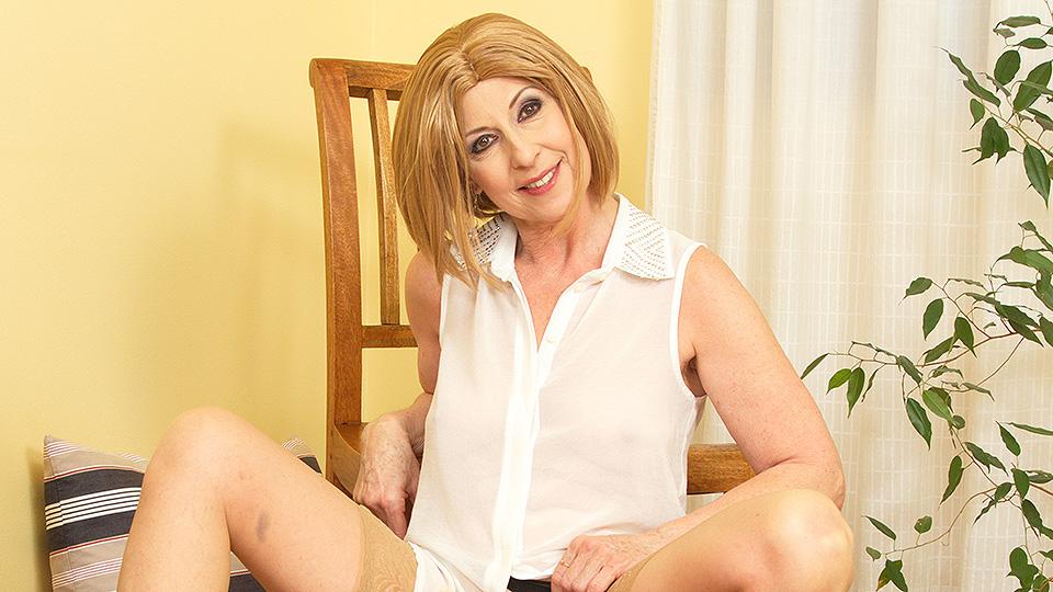 Naughty housewife masturbating at home